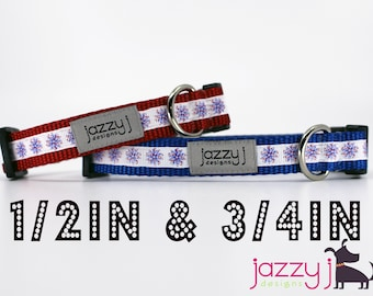 Patriotic Fireworks Red, White, and Blue Memorial Day 4th of July Dog Collar