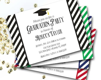 Black And White Graduation Invitation, Graduation Invite, Graduation Cap Invitation, DIY Printable