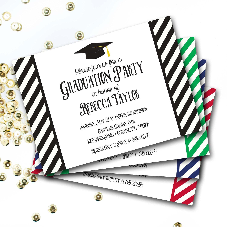 Black And White Graduation Invitation Graduation Invite Graduation