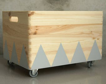 Wooden toy box rolling triangel Scandinavian design for Kid-Rooms - GREY