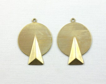 10 faceted Triangle on Circle jewelry pendant or earring drops. 27mm x 20mm (S58).