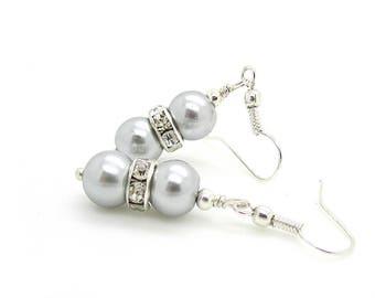 Grey Pearl Drop Earrings, Silver Bridesmaid Jewellery, Pale Grey Dangles, Pewter Wedding, Bridesmaid Earrings, Bridal Party Gifts,