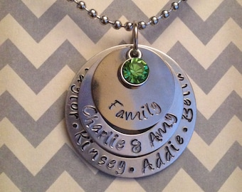 Parent Grandparent Family Hand Stamped Name Necklace Birthstone or Pearl Dangle