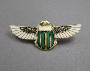 Enamel Scarab Brooch, Egyptian Revival, 30's, Art Deco, Vintage Pin