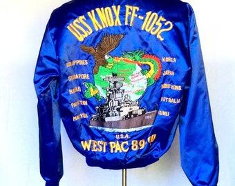 Vintage 1989-90s USS Knox FF- 1052 Tour Jacket