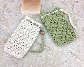 Sage Green Soap Pouch Ivory Cream Soap Saver Cotton Ivory Soap Bag Shower Bath Accessories Cotton Loofah Light Green Ecru Handmade Crochet