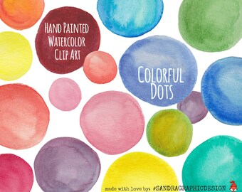"Clip art: ""DOTS""  handpainted in various colors, 30 clipart 300 dpi PNG files (5132)"