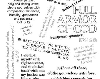 Printable Scripture Collage - Godly Clothing, Bible Poster, Christian, Righteousness