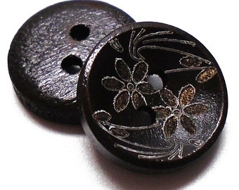 """10 Black Flower Etched 1/2"""" Buttons 2 Hole Buttons For  Sweaters, Knitting, Sewing, Button Crafts, Scrapbooking"""