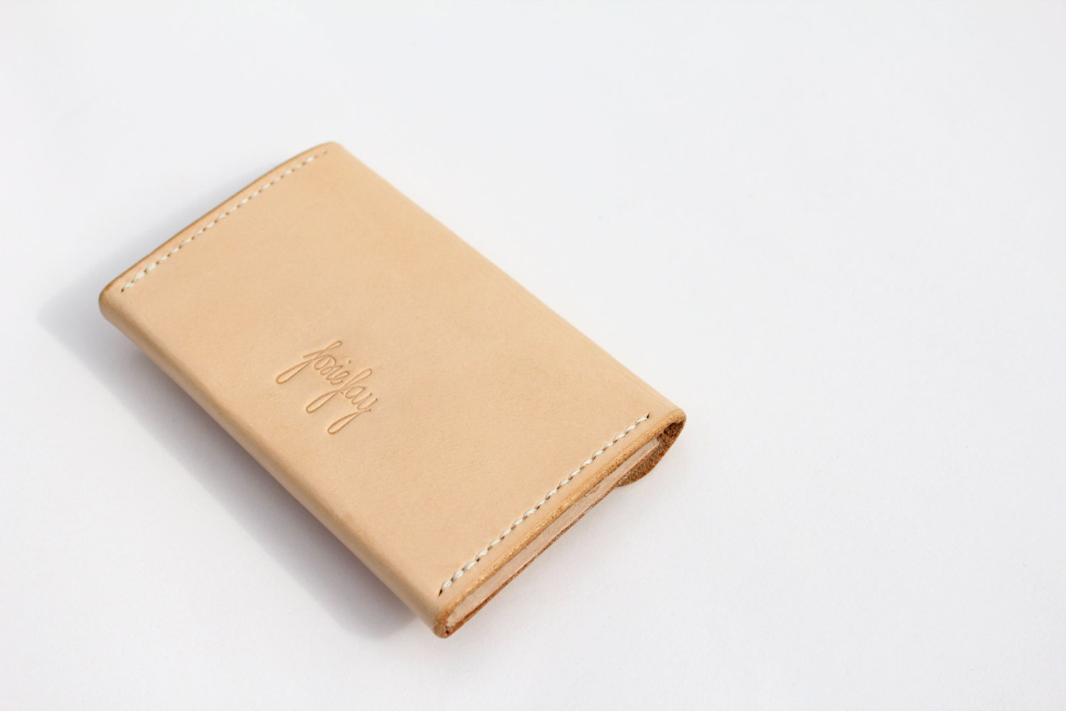Handmade leather card wallet.Natural veg-tan British leather card ...