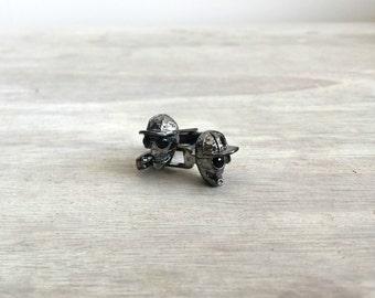 Oxidiertes Silber Totenkopf Manschettenknöpfe