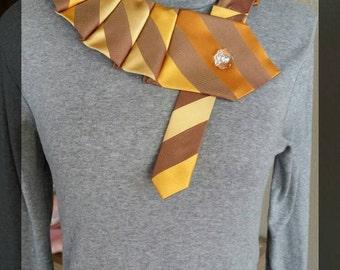 Gold necktie necklace, ascot necktie scarf, upcycled necktie jewelry, repurposed tie scarf, gift for her, woman's necktie, necktie scarf