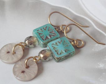 Button Button   Cute Vintage Button And Czech Glass Earrings  Gift For Her/Mother's Day Gift