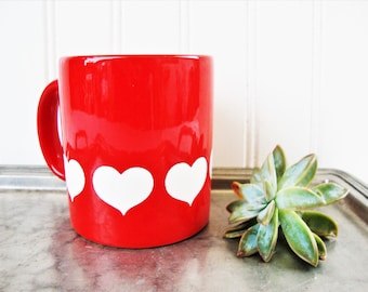 vintage red hearts mug red waechtersbach w germany valentine cup