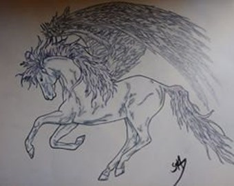 OOAK Original Pegasus Colored Pencil Drawing