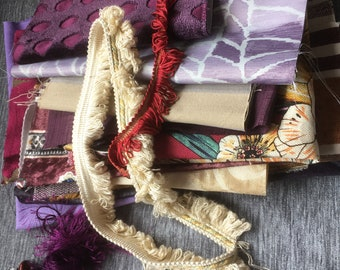 Bohemian purple fabric bundle, junk journal kit,