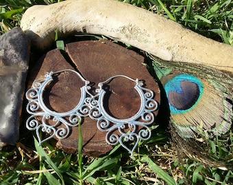Boho silvery earrings,gipsy hoop earrings,  silvery hoop  earrings, Floral silvery earrings, bohemian earrings, Ethnic earrings