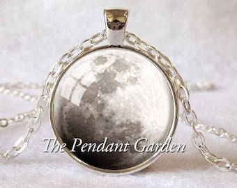 FULL MOON PENDANT Full Moon Necklace Lunar Necklace Planet Jewelry Astronomy Pendant Science Jewelry Astronomer Gift White Gray