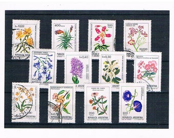 Argentina Wild Flower Stamps | botanical illustration, wildflower floral postal stamps - begonia, campanula etc | craft decoupage collect
