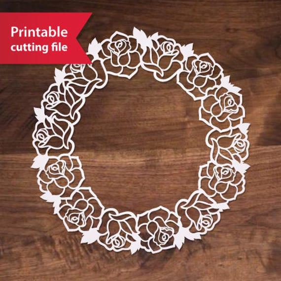 Circle Monogram Frame Svg Flower Wreath Laser Cut Vector