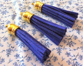 Suede cord, blue, gold hanging tassel