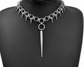 Stainless Steel Spike Chain Pendant Choker Necklace