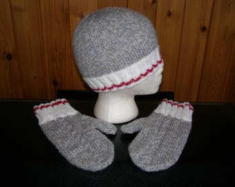 Sock monkey style hat and matching mittens