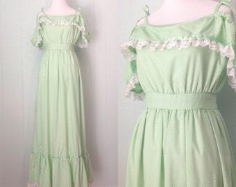 1970s Green Flocked Polka Dot Dress | 70s Light Green Off the Shoulder Maxi Dress | Vintage Retro Full Length Dress with Ruffle Lace Trim
