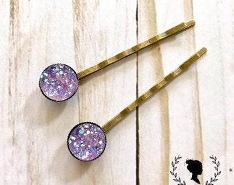 Purple Druzy Bobby Pin Set