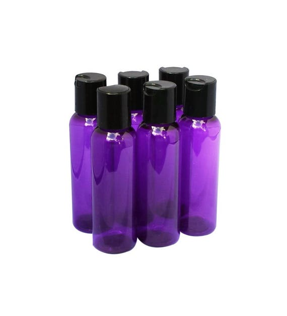 2oz Plastic Bottles Purple PET Qty 6 or 8 Includes Smooth Black Disc Top Caps 60ml or 2oz