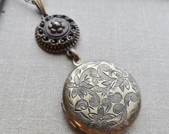 Antique Button, Locket Necklace, Flower Design, Steel Cut, Antique Brass, Victorian, Timeless Trinkets