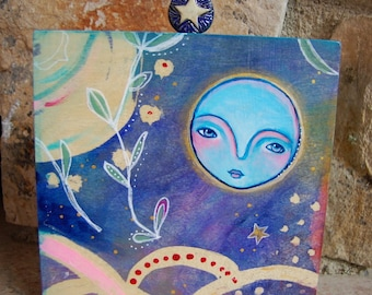Full Moon and Star / Mixed Media Painting