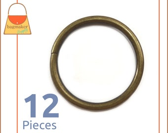 "1.5 Inch Antique Brass / Bronze O Rings, 12 Piece Pack, Handbag Purse Bag Making Hardware Supplies, 1.5"", 1-1/2 Inch,1-1/2"", RNG-AA177"