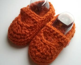 Orange Baby Mary Janes, Crochet Baby Booties, Baby Shower Gift