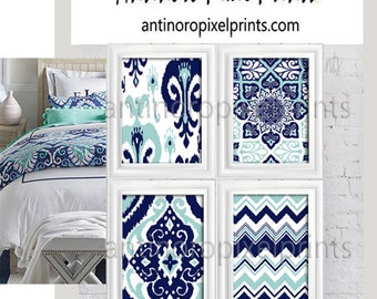Ikat Prints Damask Dark Navy Aqua White Pictures, Set of (4) 8x10 Wall Art Prints, Custom Colors Available (Unframed) #506254126