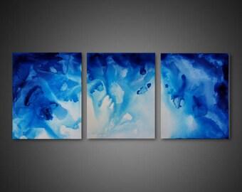 Abstract Canvas Art - water abstract art, ORIGINAL art, 3 piece wall art, blue wall decor, modern 3 piece canvas, large canvas art, modern
