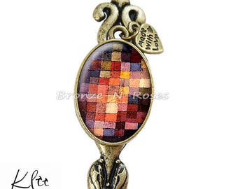 "Bookmark ""Painting tiles"" Klee fantasy glass cabochon bronze jewelry"