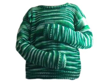 Handmade knitted white and green sweater