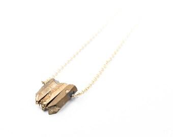 Gold Quartz 3 Stone Bar Necklace <<SALE>>