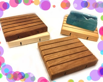 4 LARGE natural wood soap dish - 3.5x4.125 - 4 wood types to choose from - SALE SALE