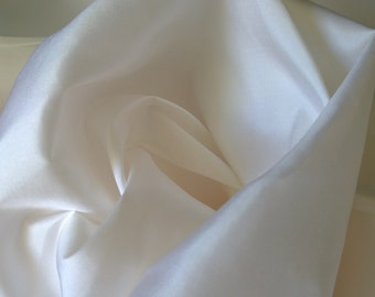 White 100% pure silk fabric by the metre