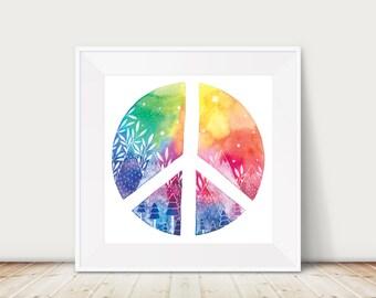 Rainbow Peace 8x8 Print