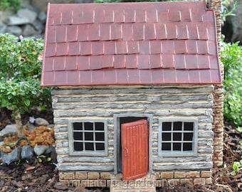 Log Cabin for Miniature Garden, Fairy Garden