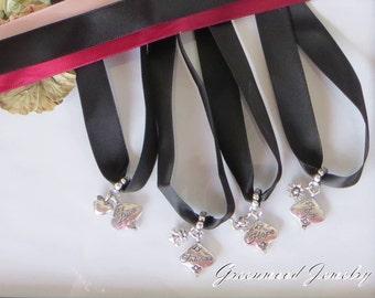 Southern Traditions: Wedding Cake Pulls on Ribbon - Love (Heart) Friends (Fleur-de-Lis), Hope (Bird), Joy (Star)-925 Sterling Silver Plated