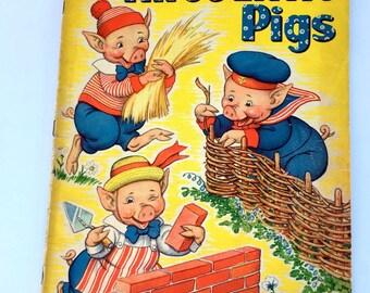 Vintage Childrens Book 1939 Merrill Publishing Three Little Pigs Linen Milo Winter Author Illustrator Big Book Bedtime Story Big Bad Wolf