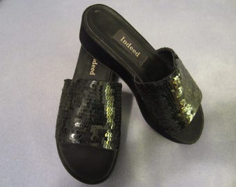 Black Sequined Wedge Slides by INDEED - Very Comfy - SALE 10% Off
