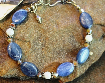 Kyanite & Mother-of-Pearl Bracelet, Unique Bracelet, Summer Jewelry, Beach Jewelry, Handcrafted, Artisan, Handmade, Women's Gift, Present