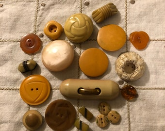Vintage Buttons - Assortment of Tan Buttons Set of 20