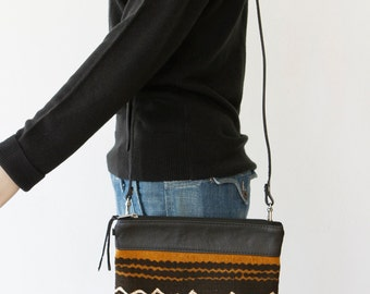 Leather Cross Body Bag with African Mud Cloth - Convertible Leather Shoulder Bag - Ethnic Leather Clutch