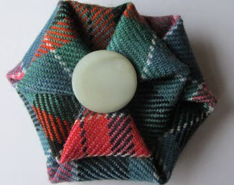 Gorden Red Ancient Tartan Brooch with a vintage mother of pearl button